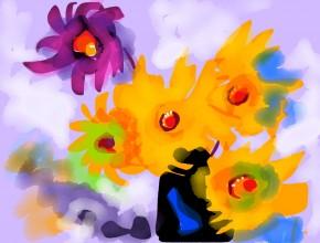 dalie gialle in vaso
